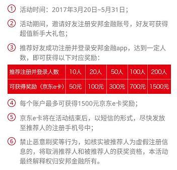 安邦金融,邀请好友注册最高撸1500元京东E卡。