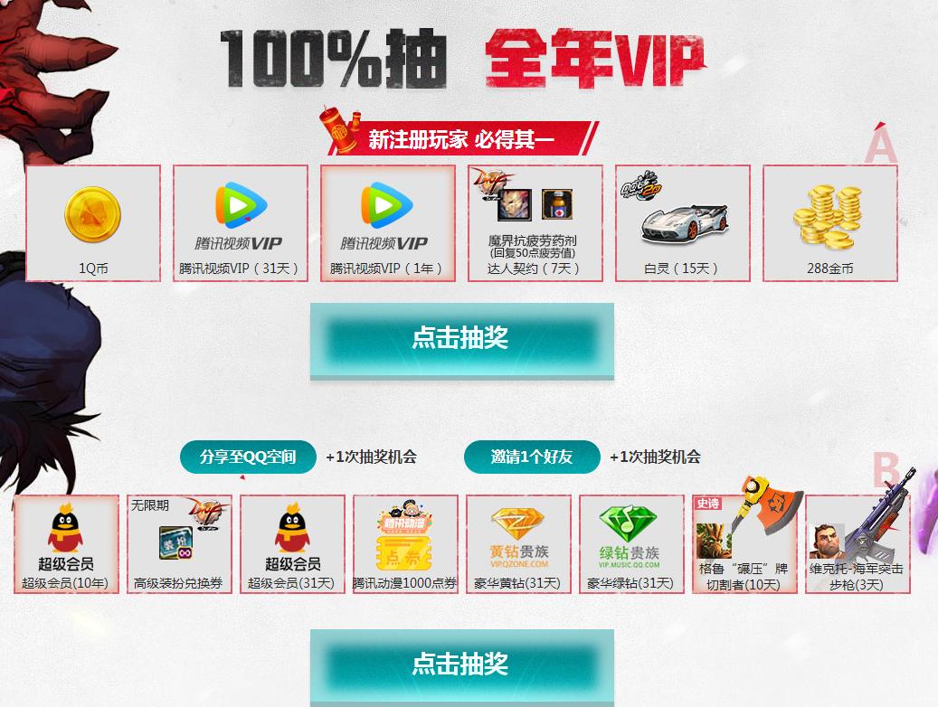 枪火游侠100%领取腾讯视频VIP+5Q币+抽超级会员+黄钻绿钻