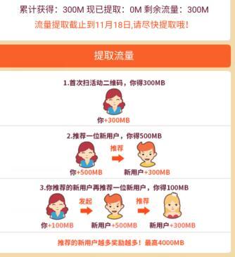 中国移动免费送300~4G流量(必中)